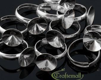 1 Sterling silver ring base for Swarovski Rivoli 12mm