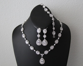 The Eve complete set, wedding jewelry, bridal jewelry, Cubic zironia cz jewelry with earrings, bracelet, and necklace