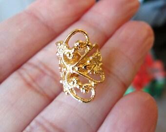 Lace Filigree ear cuff Gold earrings Filigree jewelry Filigree earrings Lace ear cuff Small clip non pierced Gold ear cuff earcuff C-080G