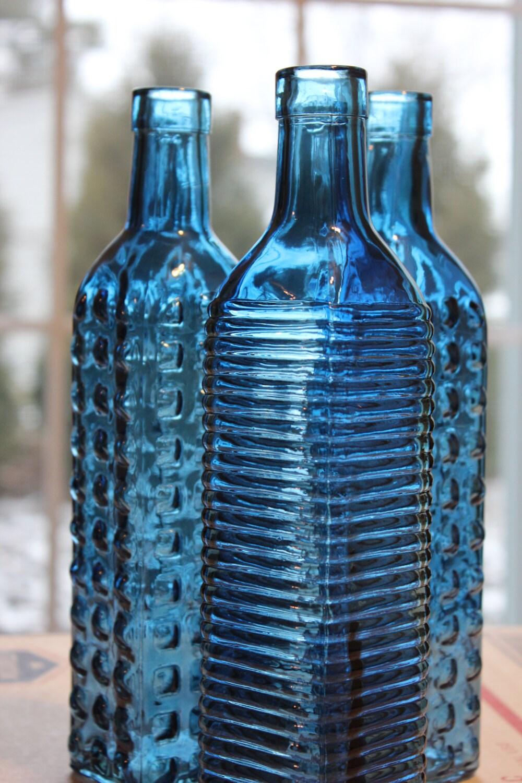 Set of 10 NAVY BLUE GLASS Bottles Dark Navy Colored Wedding