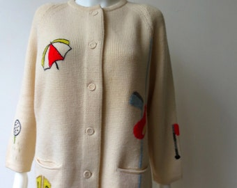 Vintage Golf Themed Wool 1960s  Le Roy Sweater Cardigan