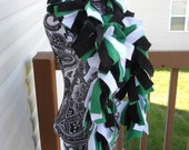 Kelly Green, Black and White Fleece Boa Scarf*