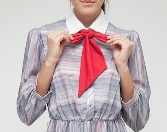 "vintage 70s secretary ascot dress L stripes long sleeves gray pink (40"" bust)"