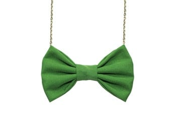 Grass Green Bow Tie Necklace , Casual funky bowtie, Women Bowtie, Bridesmaids accessory, Green wedding