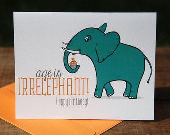 Age is Irrelephant Birthday Card, Happy, Cupcake, Elephant, Turquoise, Orange