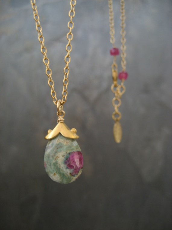 ruby zoisite pendant necklace on gold filled chain