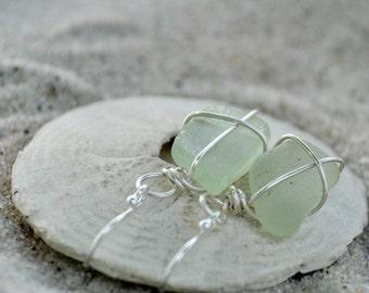 Seaglass Earrings - Seafoam Green Seaglass - Seaglass Jewelry