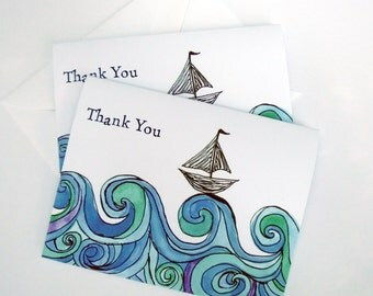 Sailboat on Ocean Waves Thank You Notes - Blue Green Watercolor Art Thank You Cards - Set of 4
