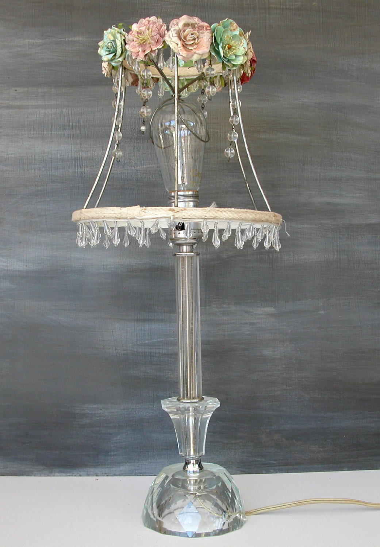 Shabby chic lamp shade by painterlex on etsy