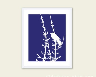 Spring Bird on Tree Branch Digital Print - Navy Blueberry and White - Bird Wall Art Spring Home Decor - Modern Bird Perched on Twig