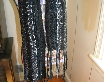 Hand Crocheted Cozy Cushy Scarf - Black Pewter Charcoal Silver Sequins Ivory