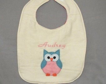 Owl personalized bib - baby girl bib - baby girl owl bib - woodland animal bib personalized
