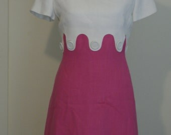 1950s Pink and White Dress