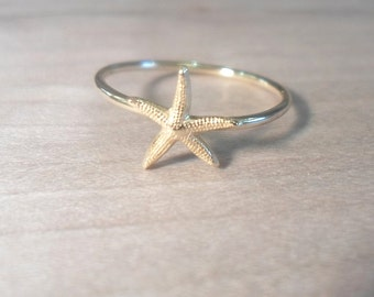 Starfish Knuckle Ring-Layering Above the Knuckle Ring Gold Brass Stackable Midi Ring-Starfish ring
