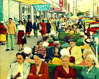 St Petersburg Florida Art, Green Benches, Old Florida art St Petersburg print Old St Pete downtown art St Pete beach old ladies vintagebeach