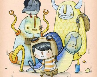 Looking For Clues - A5 Print - puffin yeti boy space snail robot friends investigation adventure alien monster beast bird aviator pilot