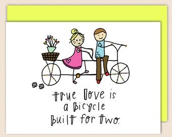 Bicycle Love Notecard, 4 1/2 x 5 1/2, Sappy, Romantic, True LOVE card