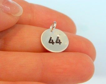Number Charm Hand Stamped Personalized Silver Round: Two Digit
