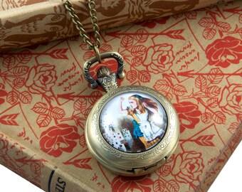 Alice in Wonderland Pocket Watch Necklace - Alice in Wonderland Gifts - Working Pocket Watch