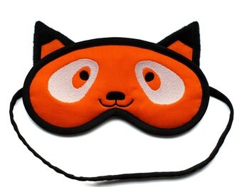 Fox Sleep Mask, Kawaii animal eye mask, Red fox blindfold, Neon orange fox sleeping eye mask, Black ears and white eyes, Gift for her him