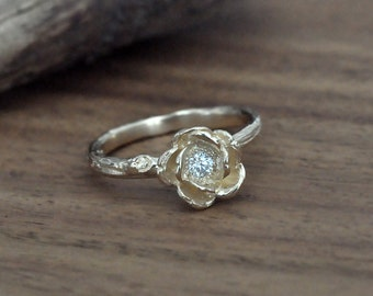 14k yellow gold rose engagement ring, nature inspired jewelry