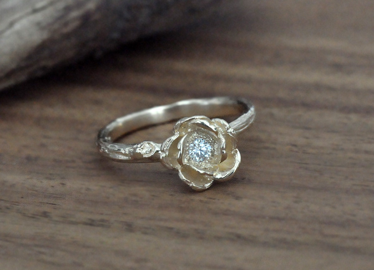 14k Yellow Gold Rose Engagement Ring Nature Inspired Jewelry