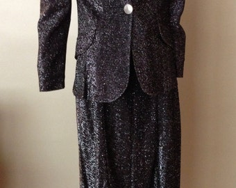 Vintage 1950s Black Glitter Metallic Skirt Suit