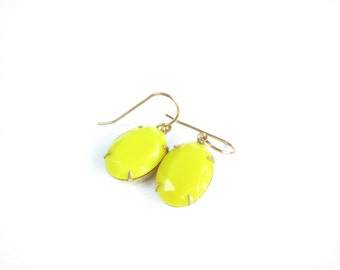 Lemon Yellow Crystal Dangle Earrings Vintage Glass Stone Antiqued Gold Brass Boho Old Hollywood Opaque