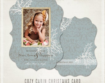 Cozy Cabin Christmas Card- Blue- WHCC & Millers Lab 5x7 Ornate