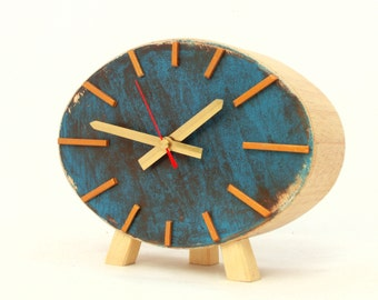 Table Clock, Wood Clock,  Ellipse clock, Turquoise  Brown Gold, Vintage style, Desk clock, Unique gift, Spring home decor, Mothers day gift