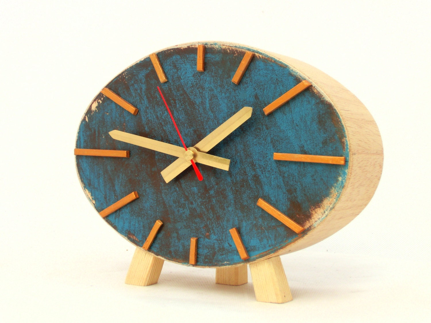Table clock wood ellipse turquoise brown