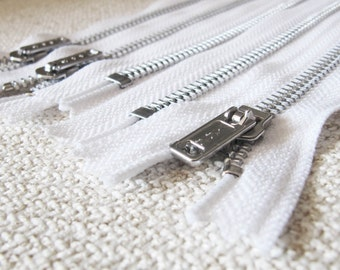 10inch - White Metal Zipper - Silver Teeth - 5pcs