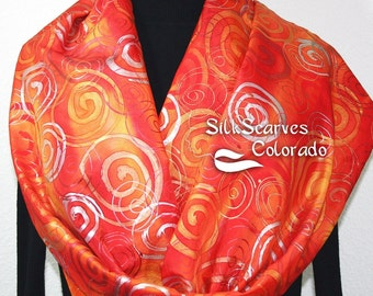 Silk Scarf Hand Painted Swedish Sunrise. Silk Scarf in Red, Orange, Yellow. EXTRA Large 22X72. Made in Colorado. 100% silk. MADE to ORDER.