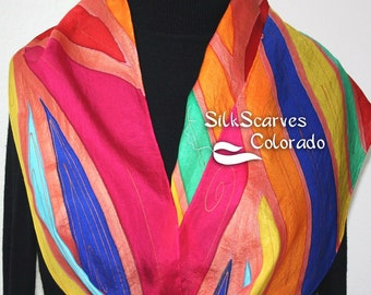 Hand Painted Silk Scarf. Red, Yellow, Blue Silk Handmade Scarf JAMAICAN BREEZE. Size 11x60 in.  Silk Scarves Colorado. Hand Dyed. 100% silk.
