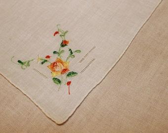 White Vintage Handkerchief with yellow and orange flower