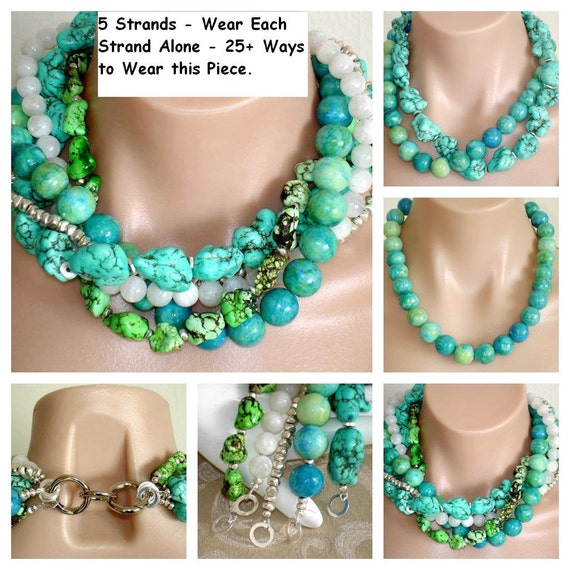 ASHIRA Bright Turquoise, Chrysocolla, White Moonstone, Green Turquoise, Silver