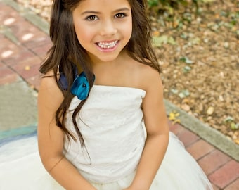 Girls Headband---Gold, Teal, Navy Blue---Match your Wedding Colors--Perfect for Flower Girls