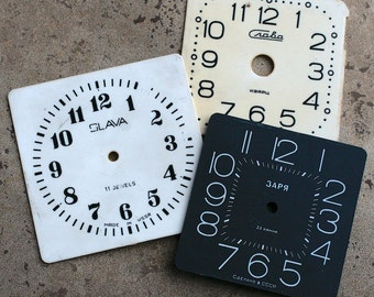 Vintage Soviet Alarm Clock Faces from 1980's -- plastic -- set of 3 -- D2