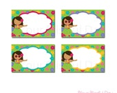 PRINTABLE Luau Party Label Tents (Character of your choice) #549