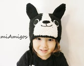Crochet Boston Terrier Hat (Made To Order - Available in all baby to adult sizes)
