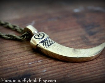 Nepalese/Tibetan big brass Horn pendant necklace Buddhist Bohemian Ethnic Tribal statement layering necklace by Inali