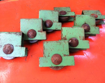 Vintage Green Industrial Cart Wheel / Caster Pair: Rustic Furniture Repair Parts  -- Two Small Steel & Cast Iron Avocado Green Roller Feet