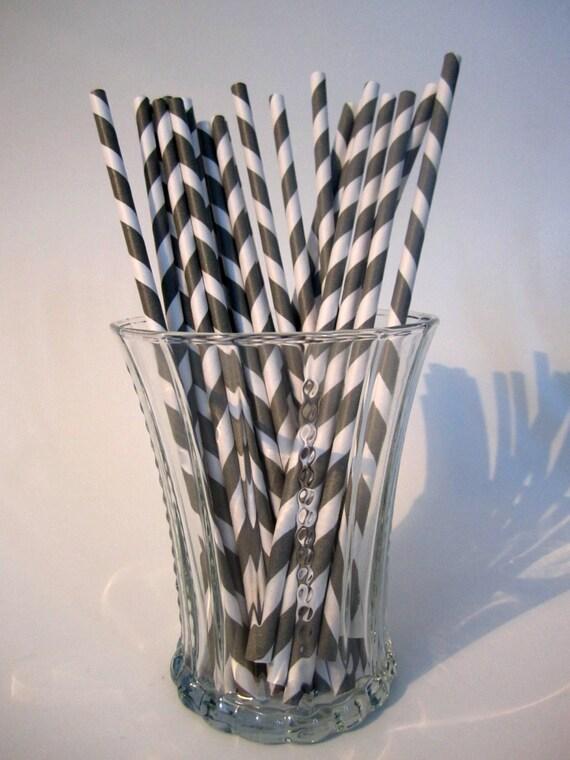 Grey Striped Paper Straws 24 Grey Striped Paper Straws