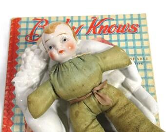 Vintage Pin Cushion Doll, China Head Doll, Green Taffeta, Sewing Collectible, Red Hair Boy, Art Deco Doll