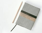 LAST ONE! Buff & Green Reusable Vintage Fabric Journal Notebook/Diary Cover 'Fortune Hexagon'