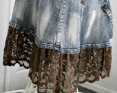 Ruffled taupe lace mermaid jean skirt metallic mocha embellished Renaissance Denim Couture fairy goddess belle bohémienne Made to Order