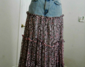 Vintage lace jean skirt mauve grey metallic Renaissance Denim Couture fairy goddess mermaid belle bohémienne