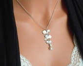 Orchid necklace, pearl necklace, cascading orchid, gifts for mom, white pearl necklace, flower necklace
