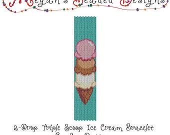 2 Drop Peyote Beading Pattern Ice Cream Cone Bracelet