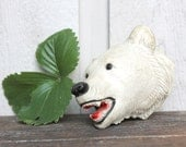 Vintage Chalkware Polar Bear Head - Mid Century Taxidermy White Bear- 1960s Retro Home Decor
